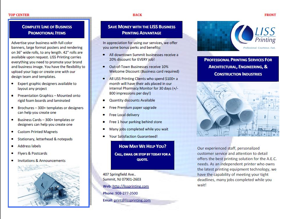 Liss Printing Brochure - Front and Back