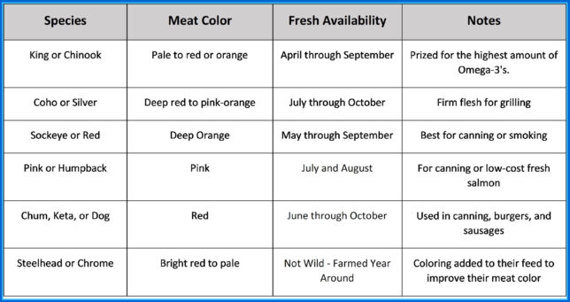 Chart - Commercially Available Salmon Species